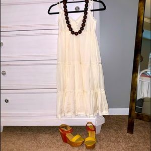 Bohemian dress, beaded necklace & platform sandals